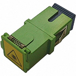 Fiber Adaptor SC/APC, Simplex, Single-mode with shutter for wall boxes