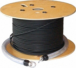 Fiber Optic Installation Cable Multi-mode OM4, 4-Core, LC/PC with Rodent Protection, Protection Tube and Pulling-Eyes (without reinforced ends)