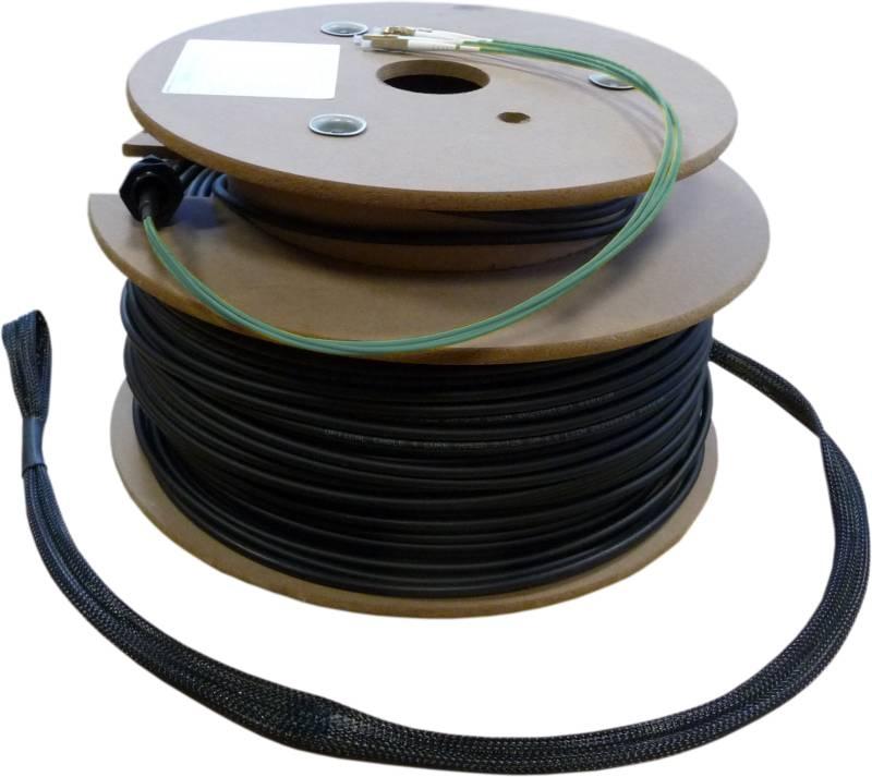 LWL Loose Tube Außenverlegekabel OM3, 8 Adern LC/PC-LC/PC mit Nagetierschutz und Einzugshilfen