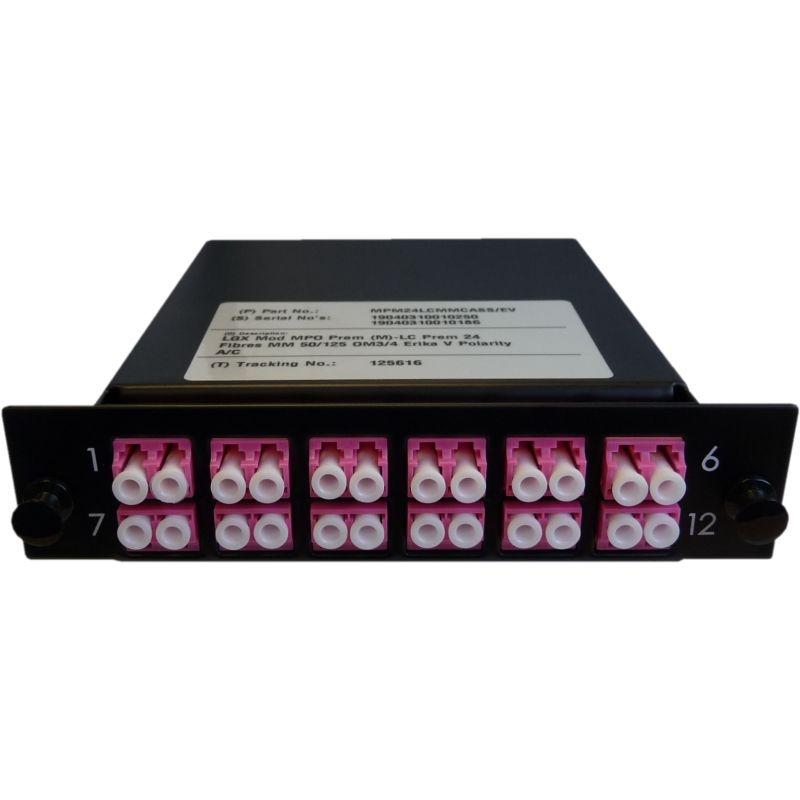 Cassette LGX-Style mit 2 Adapter MTP(Male) auf 12 Adapter LC/PC, Duplex, Multimode OM4