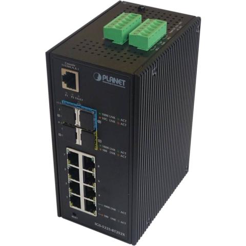 IGS-5225-8T2S2X Industrial DIN Rail GE Switch 8x RJ45, 2x SFP, 2x 1G/10G SFP+ Port, managed