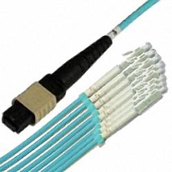 MTP/MPO Fanout-Kabel OM3 12-Core MTP(Female) auf 12x Simplex LC/PC, Premium Elite