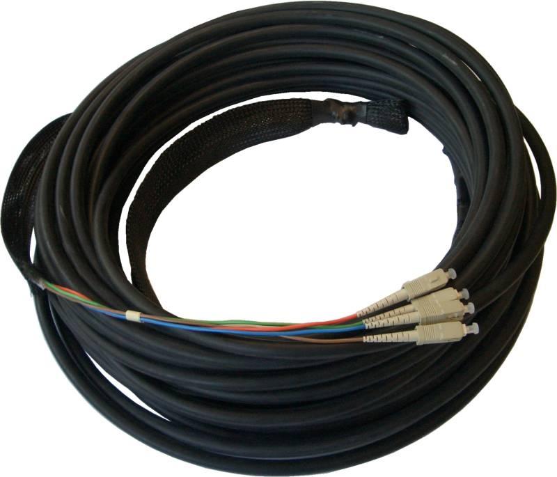 LWL Breakout Innenverlegekabel OM5, 4 Adern, LC/PC-LC/PC mit Kabelschutz und Einzughilfen