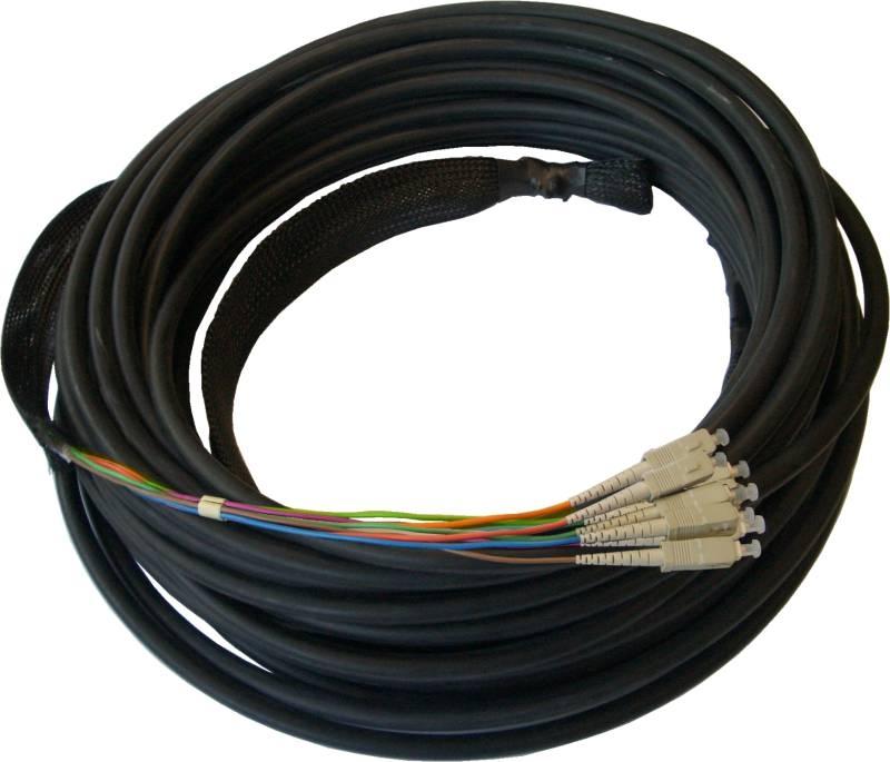 LWL Breakout Innenverlegekabel OM5, 12 Adern, LC/PC-LC/PC mit Kabelschutz und Einzughilfen
