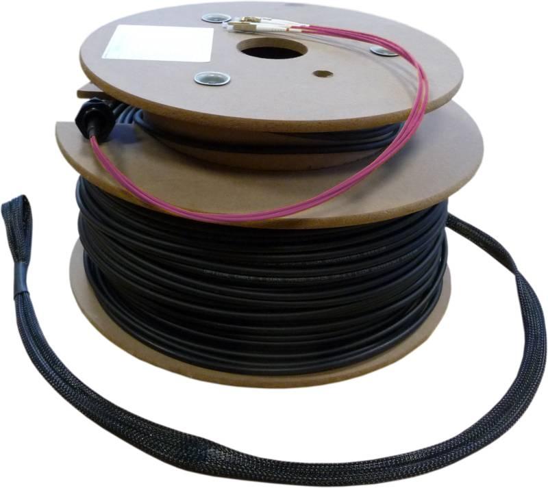 LWL Loose Tube Außenverlegekabel OM4, 4 Adern LC/PC-LC/PC mit Nagetierschutz und Einzugshilfen