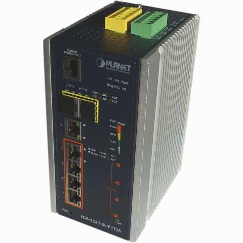 IGS-5225-4UP1T2S Industrial DIN Rail GE Switch 4x RJ45 PoE++, 1x RJ45, 2x SFP Port, managed