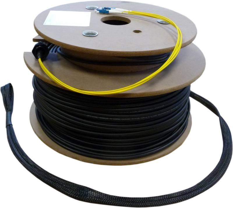 LWL Loose Tube Außenverlegekabel OS2, 8 Adern LC/PC-E2000/APC mit Nagetierschutz und Einzugshilfen