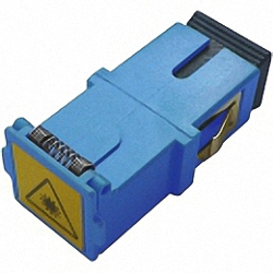 Fiber Adaptor SC/PC, Simplex, Single-mode with shutter for wall boxes