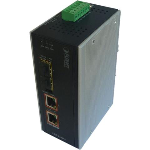 IGUP-2205AT Industrial Din Rail GE Ultra PoE Converter, 2x 10/100/1000Base-T 802.3bt PoE++, 2-Port 100/1000X SFP