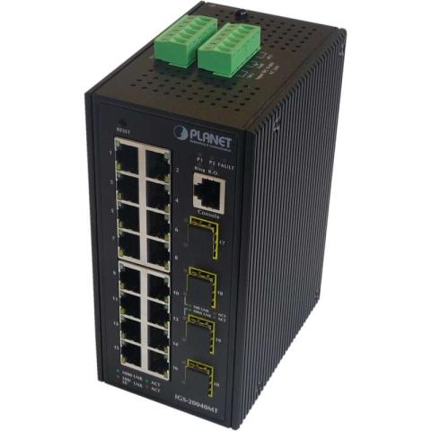 IGS-20040MT Industrieller Hutschienen GE Switch 16x RJ45, 4x SFP Port, managed